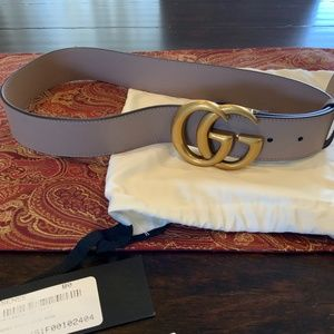 """Gucci Nude Wide 1.5 """" Leather Belt with Double G"""